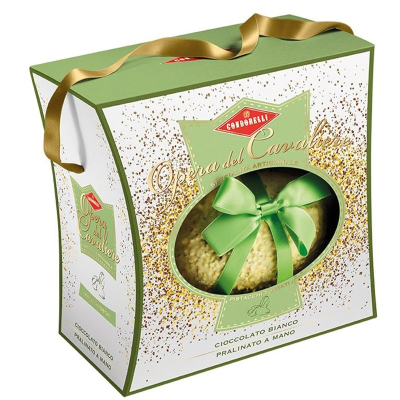 Uovo di Pasqua artigianale di cioccolato bianco con pistacchi Condorelli.