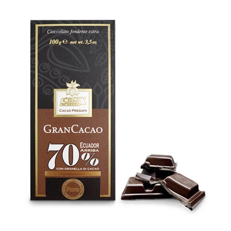 """Tavoletta di cioccolato fondente extra al 70% Ecuador """"Arriba"""" con granella di cacao - Slitti - Castroni Roma"""