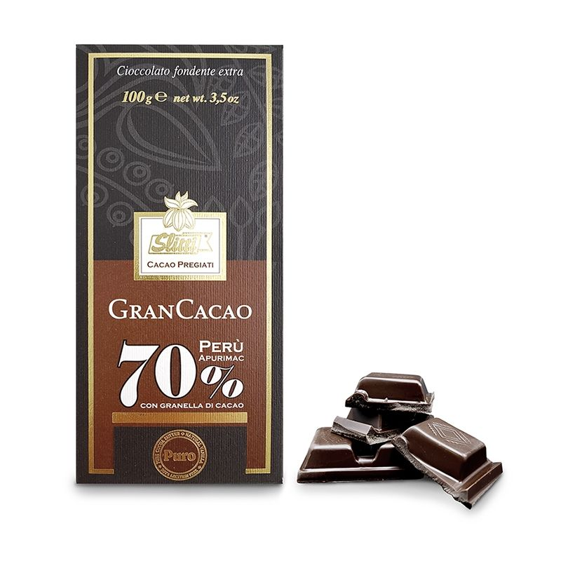 Tavoletta di cioccolato fondente extra al 70% Perù con granella di cacao - Slitti - Castroni Roma