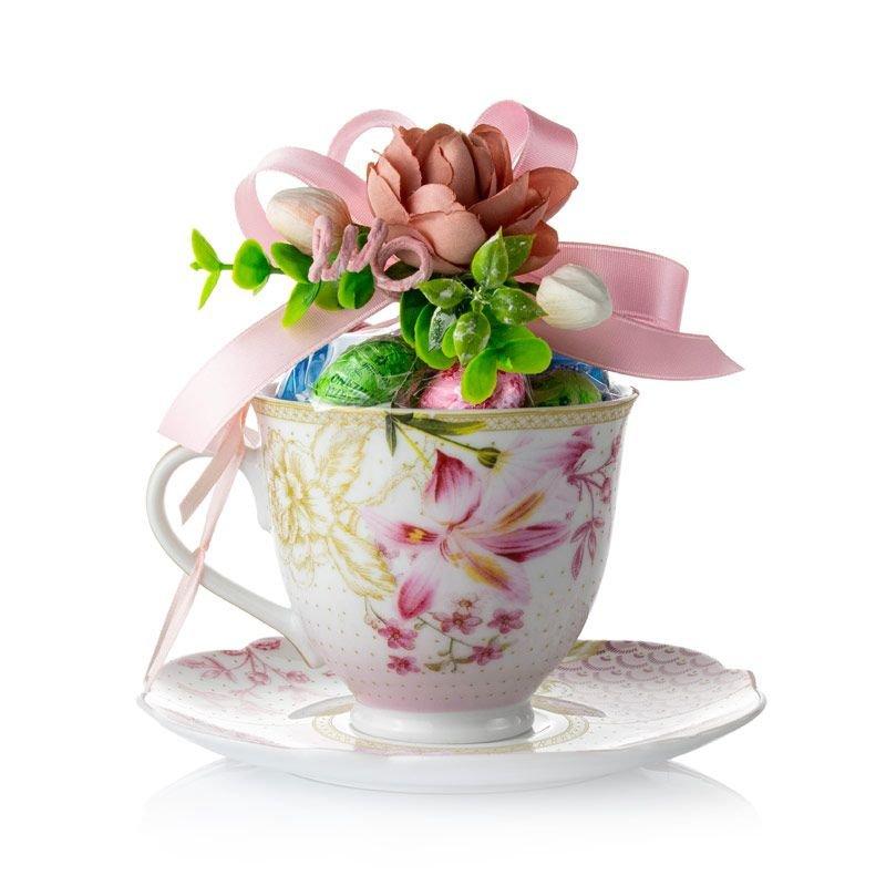 Tazza da Tè in porcellana con fiori rosa - Pasqua