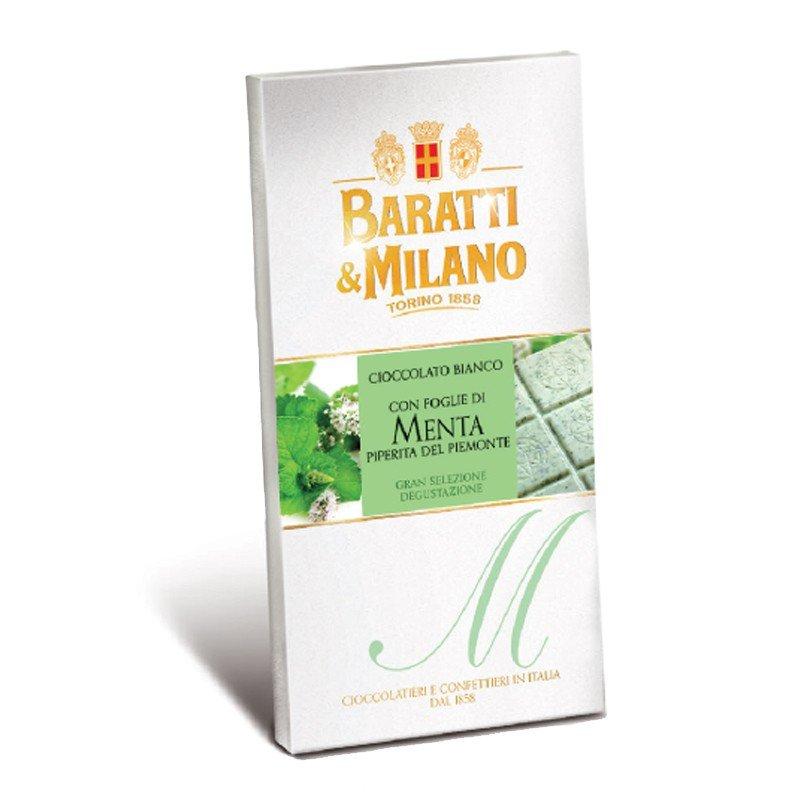 Tavoletta di cioccolato bianco con foglie di menta piperita Baratti & Milano - Castroni